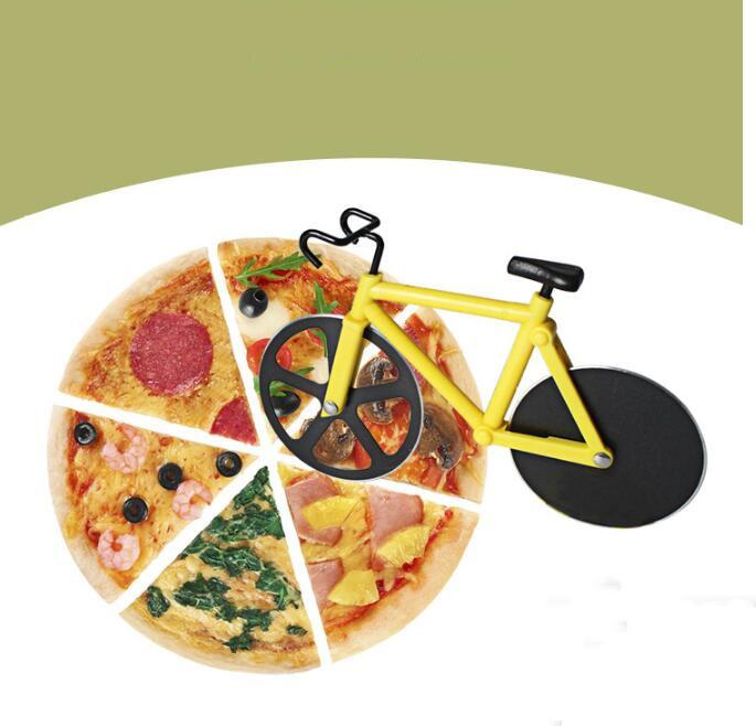 Cuchillo de corte de pizza Cortador de pizza de bicicleta Doble Acero inoxidable Cortador de bicicletas Pizza Herramienta Cuchillo Hornear Cocina Herramientas Regalos Creativo GWE8875