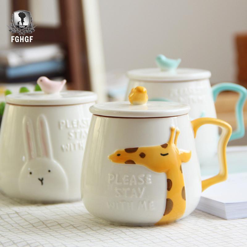 3D Relief Animal Flamingo White Ceramic Coffee Mug Creative Coffee Cup Breakfast Milk Cup T200506