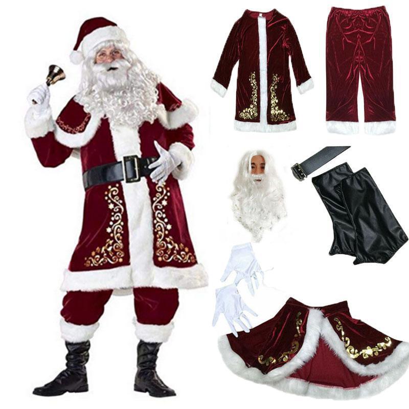 Décorations de Noël 9pcs Velvet Deluxe Santa Claus Père Cosplay costume costume adulte robe de fantaisie