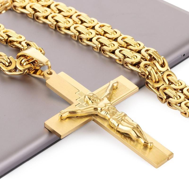 Crucifixo Jesus colar de ouro pingente Cor inoxidável Cristos Aço Bíblia Cruz dos homens jóia bizantina Cadeia presente para o pai NZ016