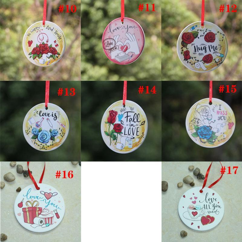 DHL Shipping!Ceramic DIY Double-sided UV Printing Valentine Day Gift Valentine Theme Fall In Love Pendant Ornament HHE4130