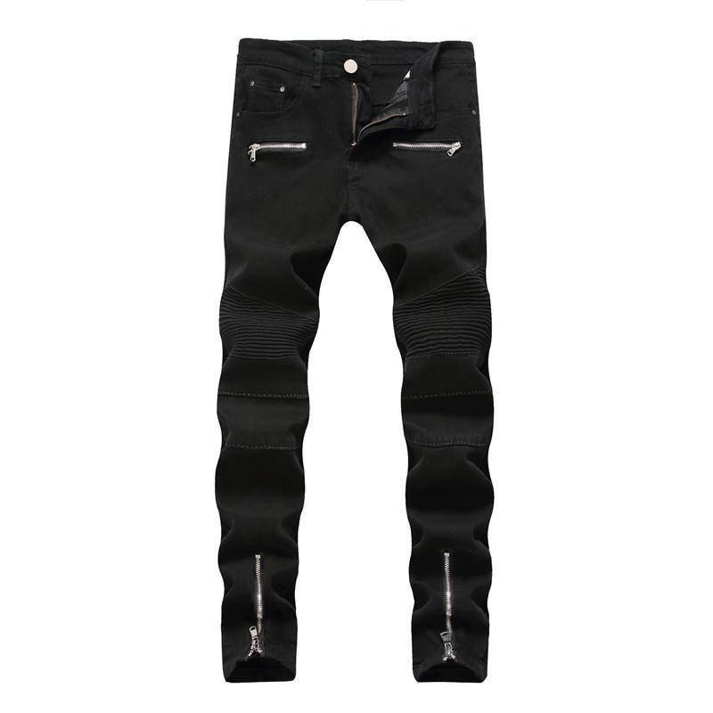 Мужские джинсы на молнии тонкие автомобильные брюки прямые хип-хоп улица