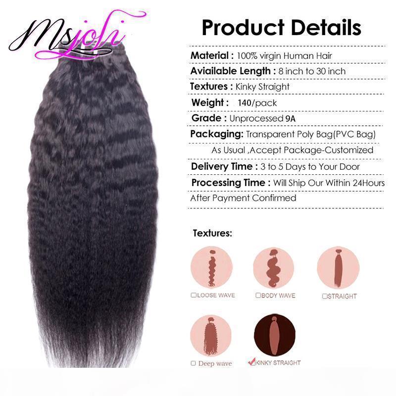Индийские человеческие волосы 140g kinky прямой клип в человеческих волосах наращивания волос 7шт. Лот натуральный цвет kinky прямые яки человеческие волосы плетены от Msjoli