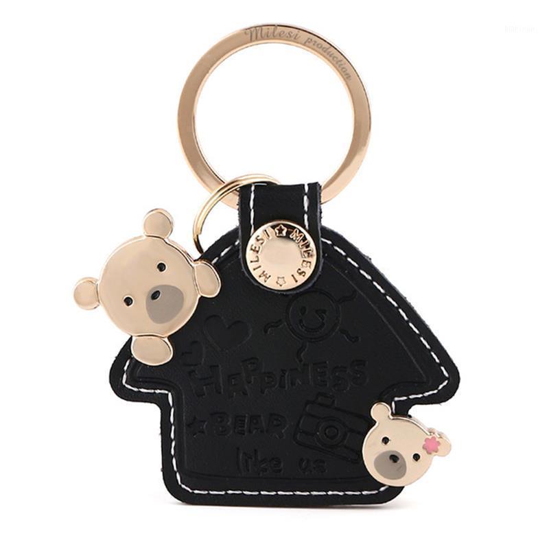 키 체인 Milesi 가죽 열쇠 고리 반지 여성 펜던트 사랑스러운 곰 집 모양 악세사리 패션 자동차 키 체인 매력 선물 K00561
