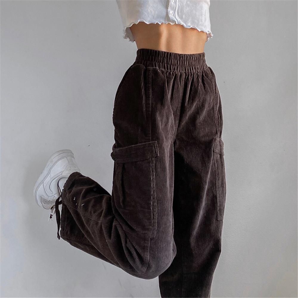 Süpermiss Kadınlar Kahverengi Y2K Kadife demet Koşu Pantolon Moda 2020 Sonbahar Uzun Yüksek Bel Pantolon Koşu Eşyaları Sweatpants Kadın Q0112