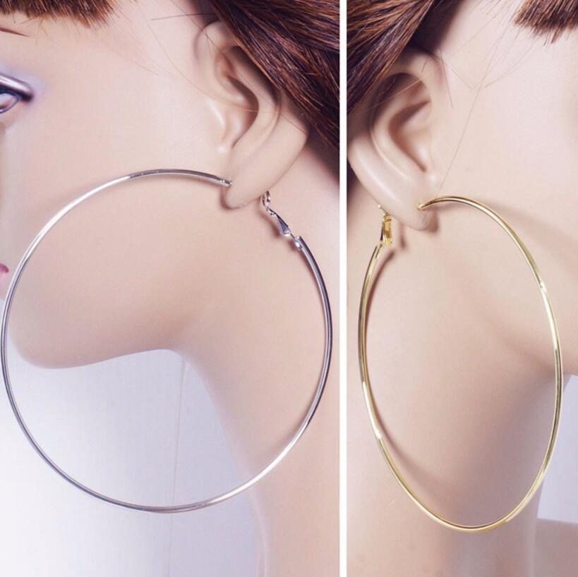 Kişilik Süper Büyük Hoop Küpe İçin Kadınlar Moda Altın Gümüş Renk Takı Trendy Retro Büyük Yuvarlak Çember Küpe 30mm-100mm Circles