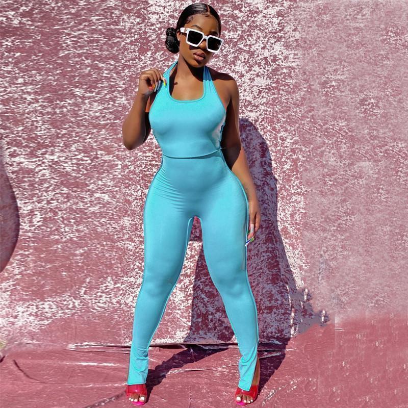 Hirigin Sumpsuits Summer Mujeres sin respaldo Verano Azul Sólido Sexy Halter U-Cuello adelgazante Pantalones largos Pantalones deportivos Casuales