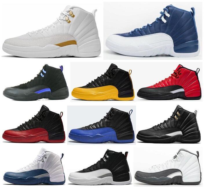 Популярные Новые 12 Камень Синий университета Золотой Темно Concord Reverse Flu Game OVO Белый Мужчины Баскетбол обувь 12s Плей Французский синий кроссовки