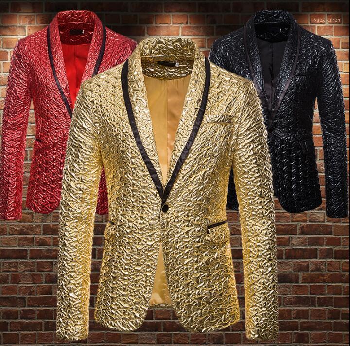 Gold Glossy Blazer Jacquard Blazer Jacquard Hommes Suit Designs Costumes de scène pour hommes pour chanteurs Vêtements Vêtements Star Star Robe B4491