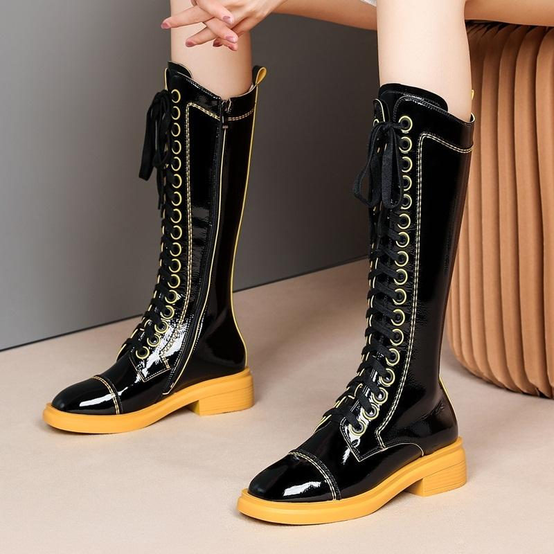 2021 New Hot Winter Long Black Party Shoes Woman Riding Toe Ginocchio Stivali alti 34-41 N7DB