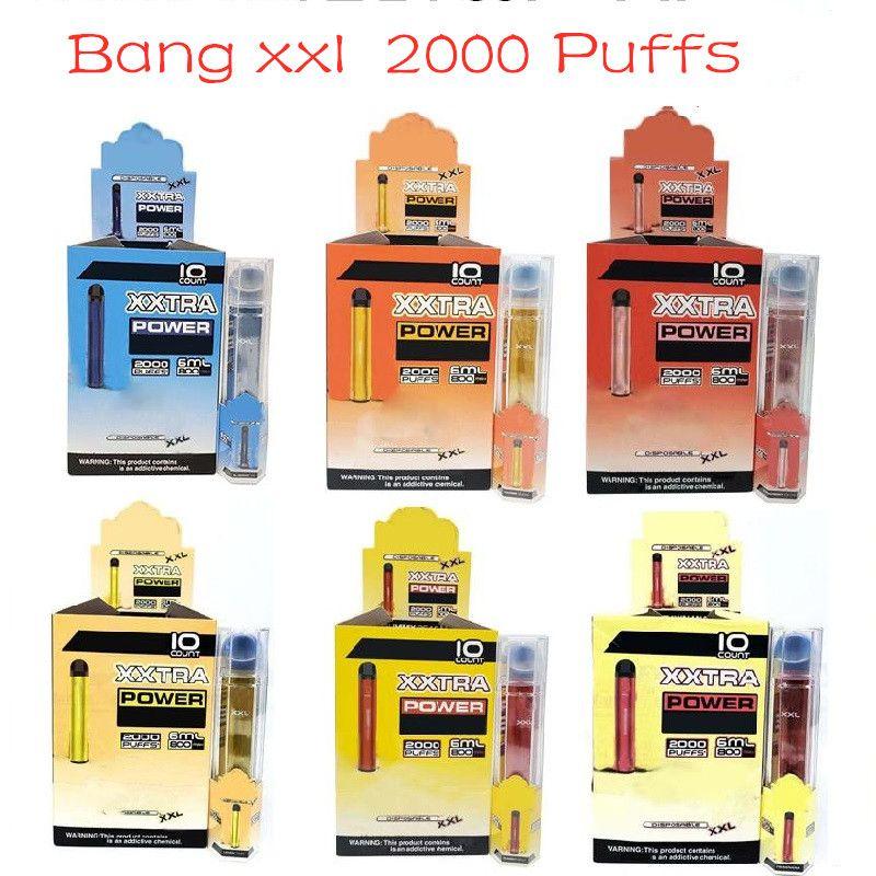 Bang XXL Одноразовый ручка Vape Peen 800MAH аккумуляторная батарея 6 мл PODS Пустые пары 2000 Puffs Bang XXTRA Kit VS Bang XL