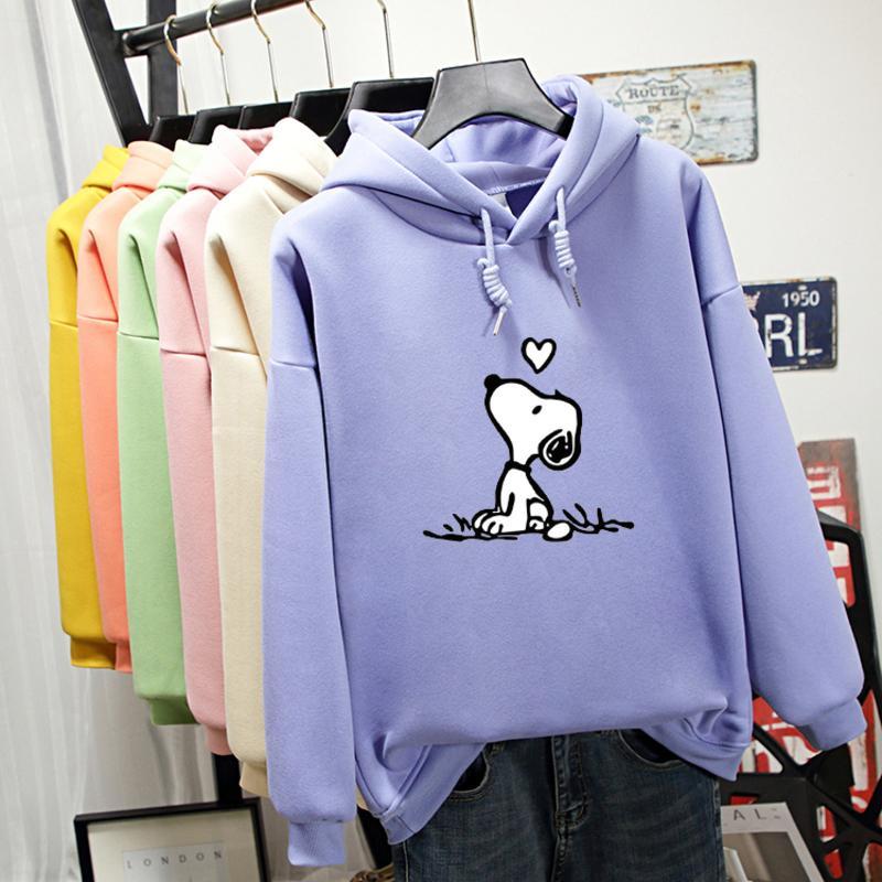 Otoño invierno la camiseta de la mujer 2019 Patrón perro de la historieta creativa de manga larga con capucha de impresión de Harajuku de gran tamaño Mujeres Sudaderas Tops
