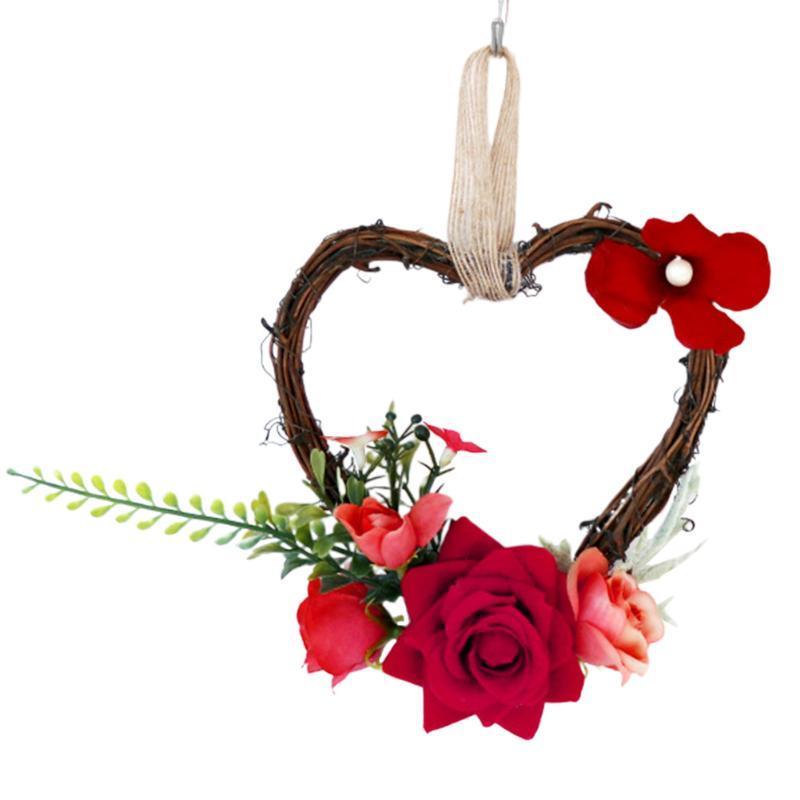С венком венок праздничная вечеринка стена украшения дома украшения искусственная роза висит гирлянда сердца свадебный орнамент европейский стиль