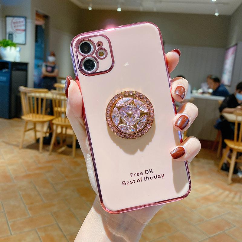 iPhone 12 11 Pro Max XS Max XR x 8 Plus 삼성 갤럭시 S20 전화 케이스 도금 TPU 다이아몬드 링 킥 스탠드 홀더