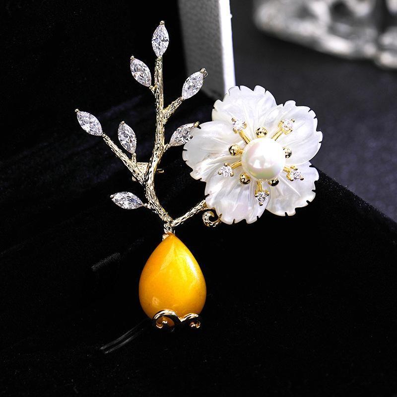 Shell Flores Broches Jóias Cubic Suit Wedding Party Zirconia Corsage Mulheres Moda Broche Pin Lady marca de joalharia