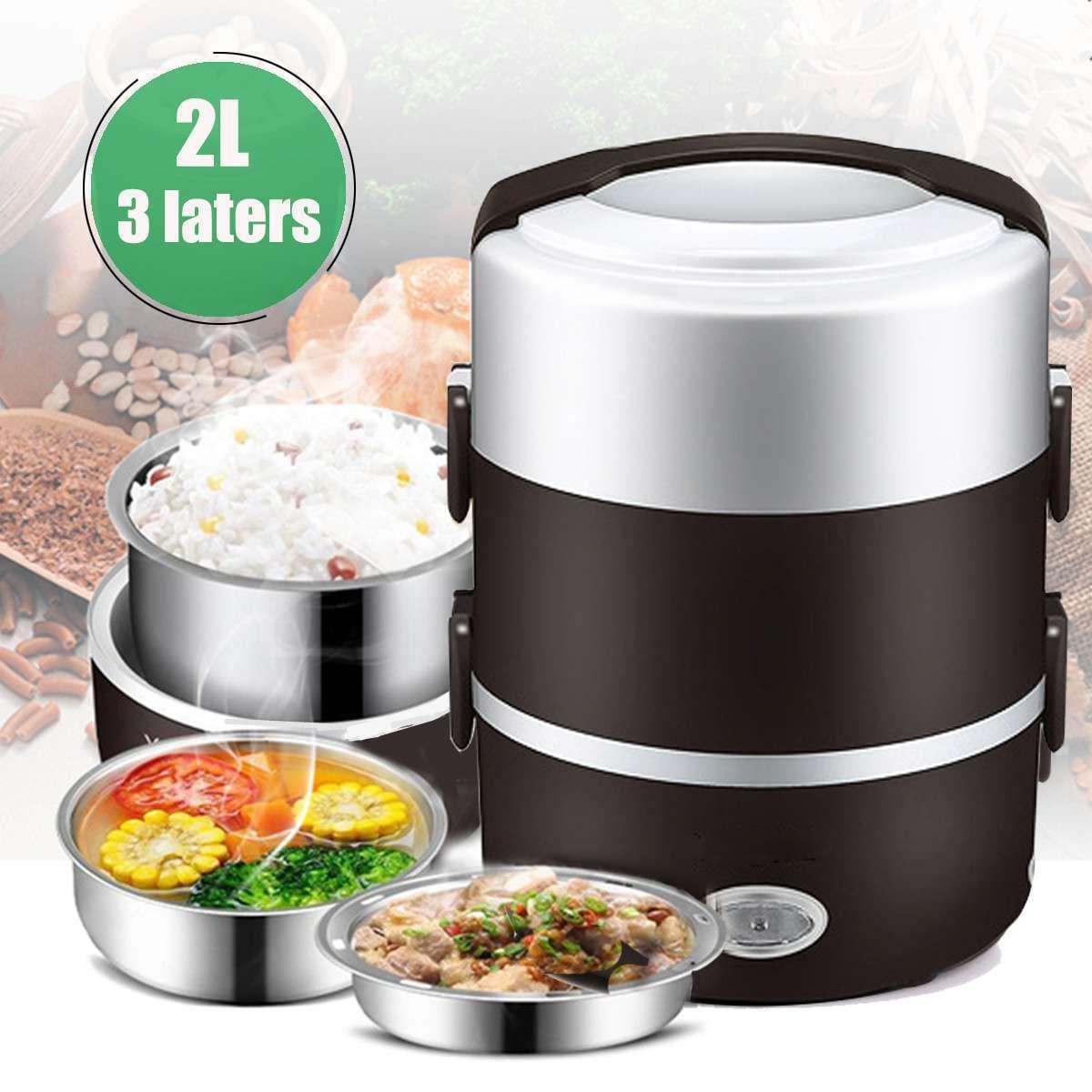 2L 3 camada portátil almoço caixa mini fogão de arroz elétrico refeição refeição térmica aquecimento automático recipiente de alimentos aquecedor cozinhar potenciômetro t200429