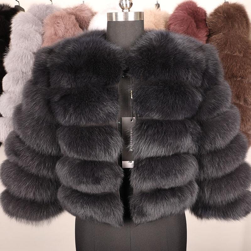 Природные Real Fox Fur Coat Женщины Зима 50см натуральный мех жилет куртка способа Outwear Real Fox Fur Vest Coat 201016