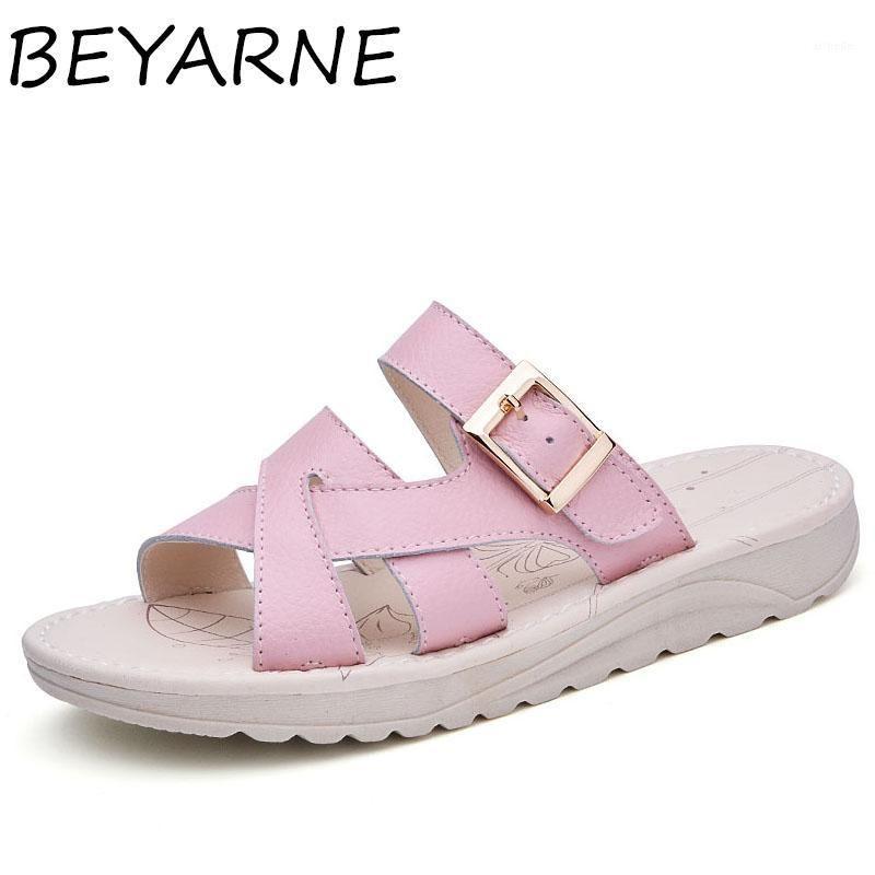 Beyarne New Summer Mulheres Chinelos Sapatos Casuais Open Toe Outside Flat Slippers Confortável Cowhide Senhoras Sandálias Thongs1