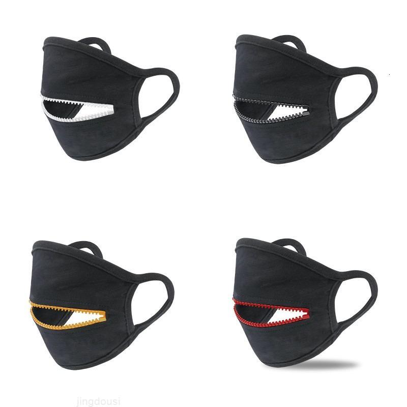 Radfahren Reißverschluss Munddesign Gesicht Mann Maske Schutz Schwarz Frauen Abdeckung Mode Masken Baumwolle Atmungsaktive Sportmaske W1