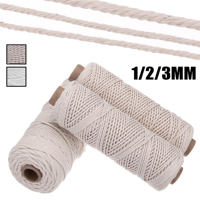 1/2 / 3 мм Диаметр хлопчатобумажный шнур веревки ремесло макромельный шнур Artcraft String Diy Handmade плетеный цветной хлопчатобумажный веревка 100 м