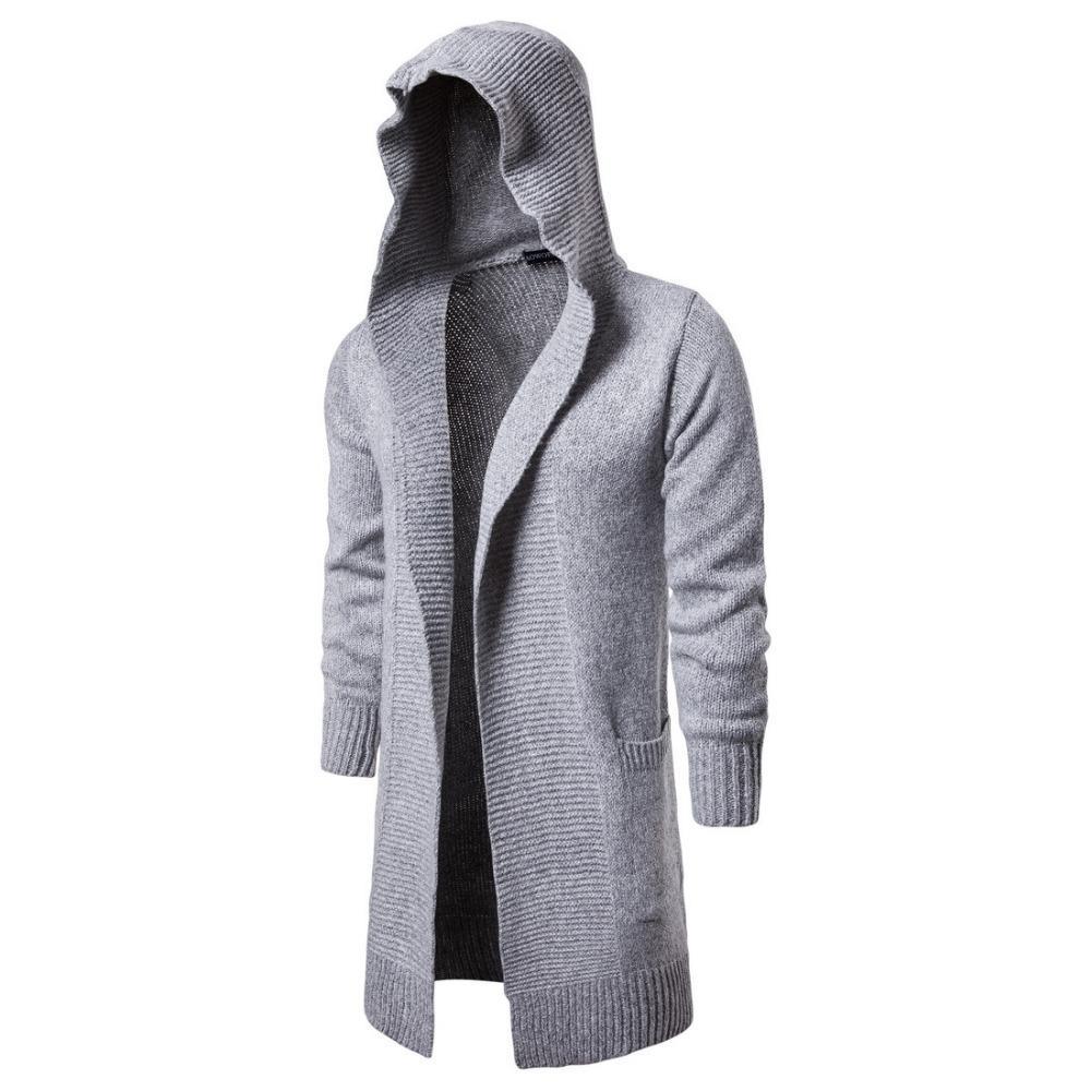 2021 Automne longue masculine Habille Cardigan Pull Cardigan Veste tricotée occasionnelle Hip Hop Street Style Vêtements 4VQC