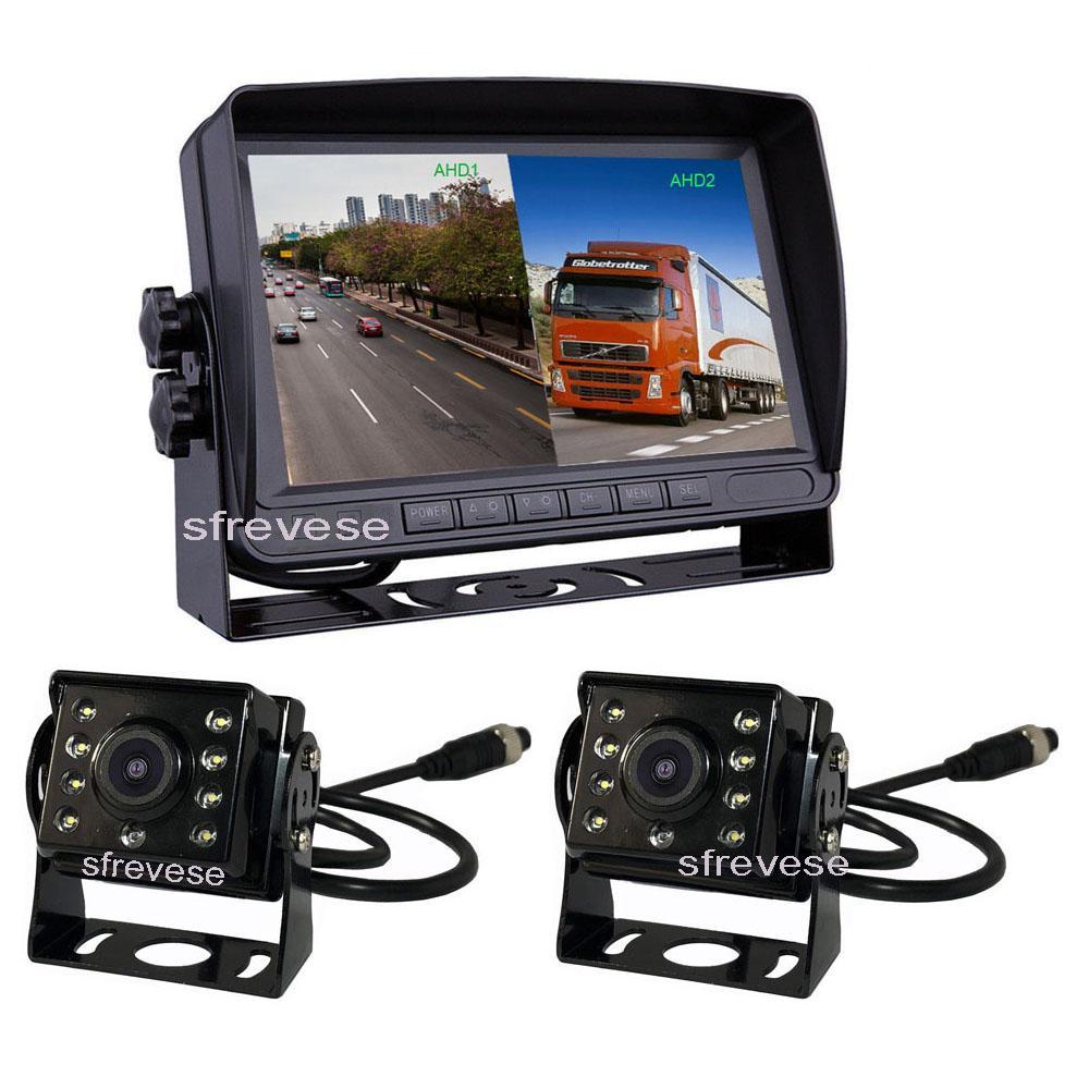 "7 ""IPS AHD SD DVR-Aufnahme 2CH Split 4Pin Auto Rückansicht Monitor + 2x 4pin wasserdicht AHD 1080p Umkehrung der Backup-Kamera für Buswagen"