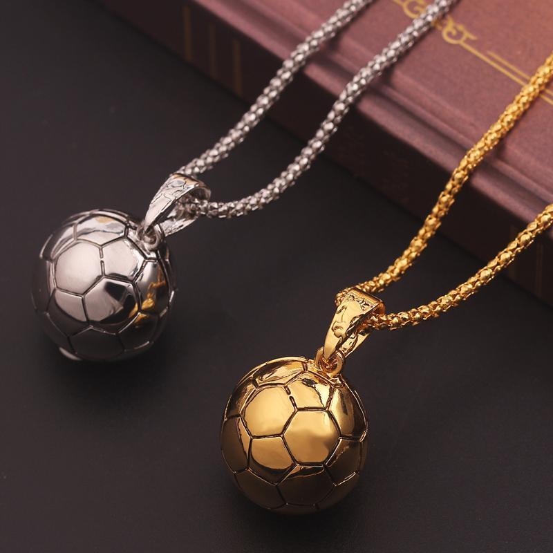 Anhänger Halsketten Hip Hop Männer Hippie Männliche Sport Halskette Fußball Legierung Kette Fußball Ball Schmuck Geschenk