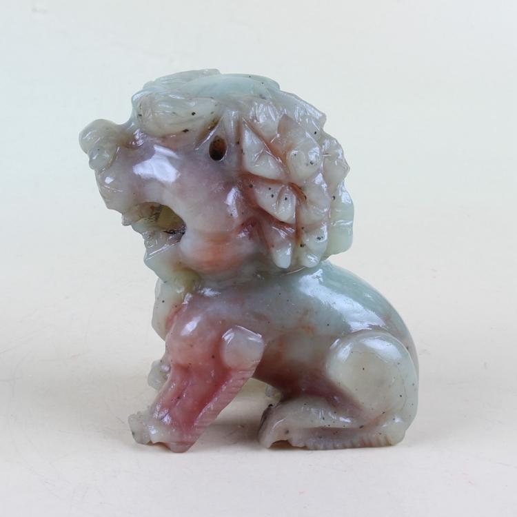 Китайский античный изысканно вырезанный ручной джейд лев модель статуя Dy79