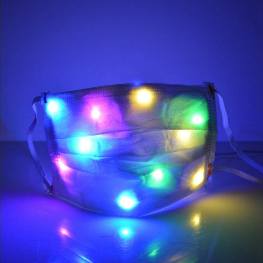 LED Light Glowing Masks Nightclub Luminous Halloween Light Up Half Face Mask Disco Party Mouth Cover DDA626