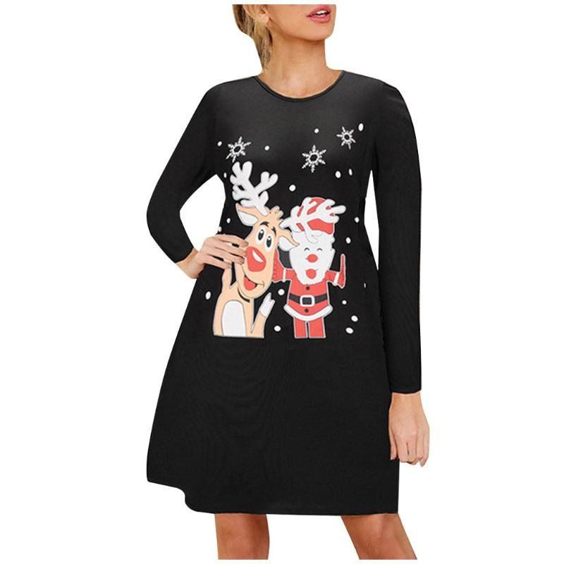 Outono inverno vestido de natal mulheres manga longa cervo santa festa vestidos pulôver árvore de natal print ocasional o-pescoço vestidos