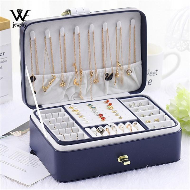 NOUS NOUVEAUX Boîte d'organisateur de bijoux à deux couches avec 56 goujons en cuir lisse Bijoux de stockage Support d'affichage avec Lock1