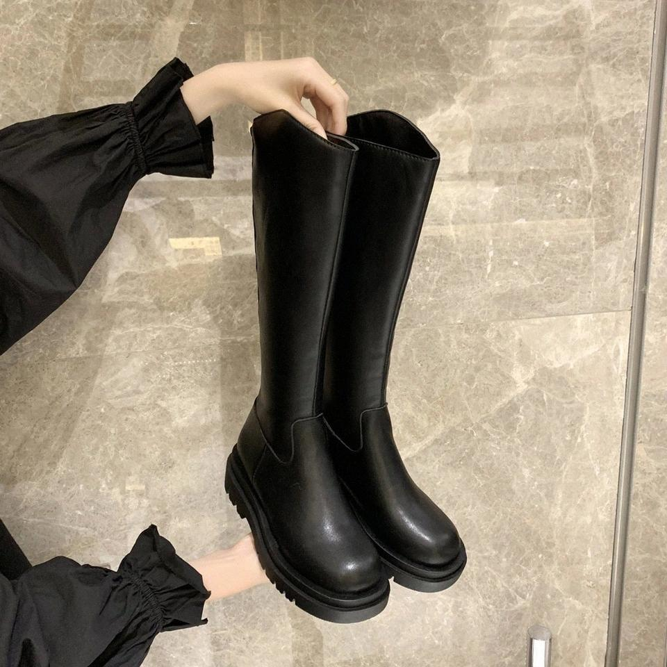 Black Knee High Boots Platform Women Chunky Motorcycle Boots Thick Sole Long Women Punk Shoes 2020 Zapatos Mujer #oI1u