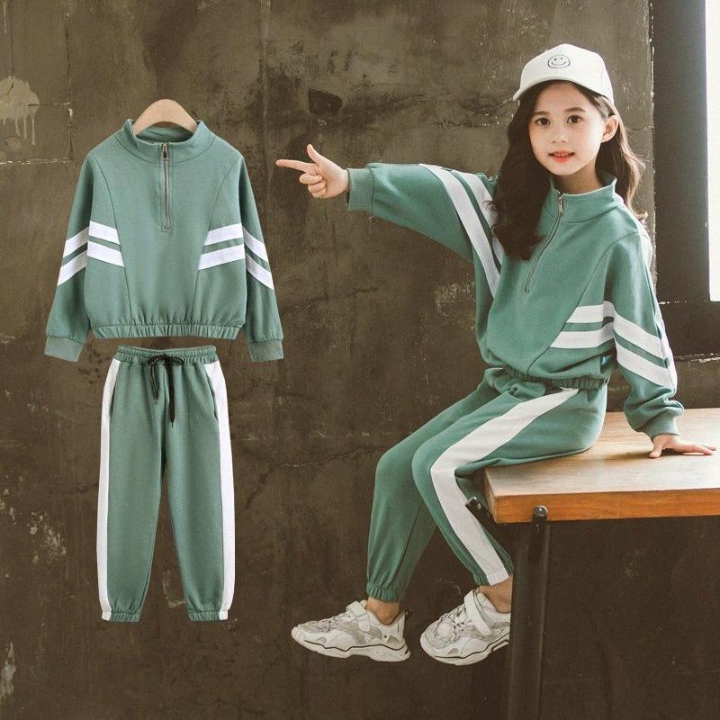 Детская одежда Set Повседневный Спорт игры для девочек костюмы Spring 2pcs Детская одежда Костюмы 8 10 12 год Хлопок Девочки Одежда jWVo #
