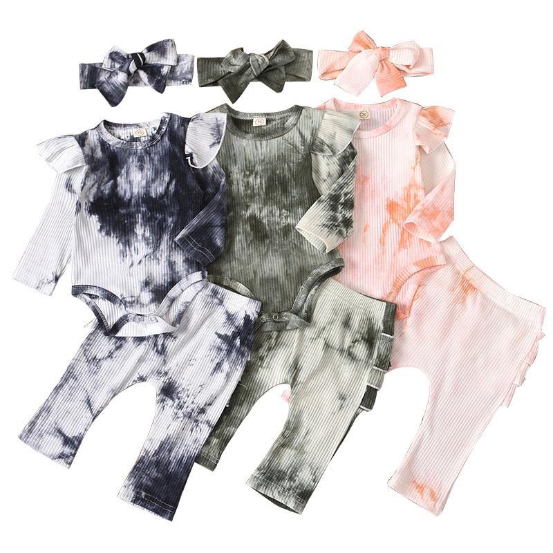 Infant Tie Dye Outfits ragazze Ruffle maniche lunghe pagliaccetto del bambino vestiti regolati delle ragazze del bambino TUTU pantaloni pizzo elastico dei pantaloni del vestito del bambino 061.112