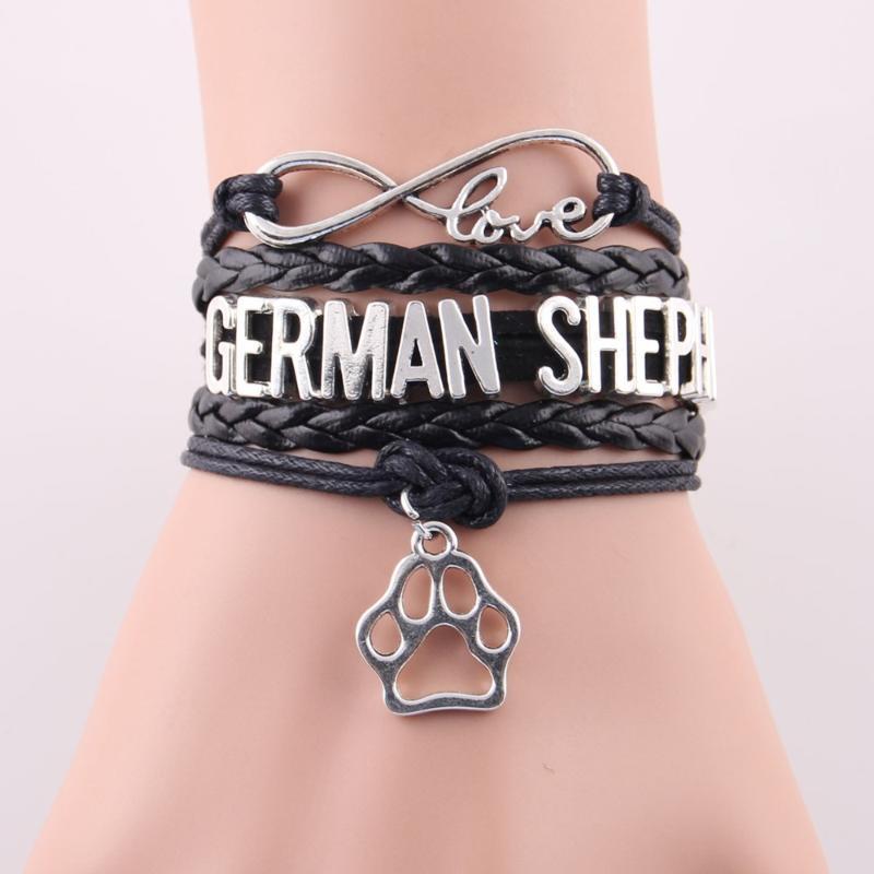 2020 Nuovo fascino in pelle wrap tedesco pastore pastore braccialetti Bangles Pet dog tema donna uomini gioielli goccia spedizione1