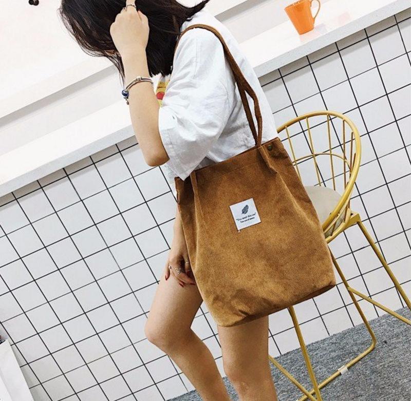 Sacos para mulheres 2021 saco de ombro corduroy sacos de compras reutilizáveis tote casual bolsa feminina para um certo número de dropshipping