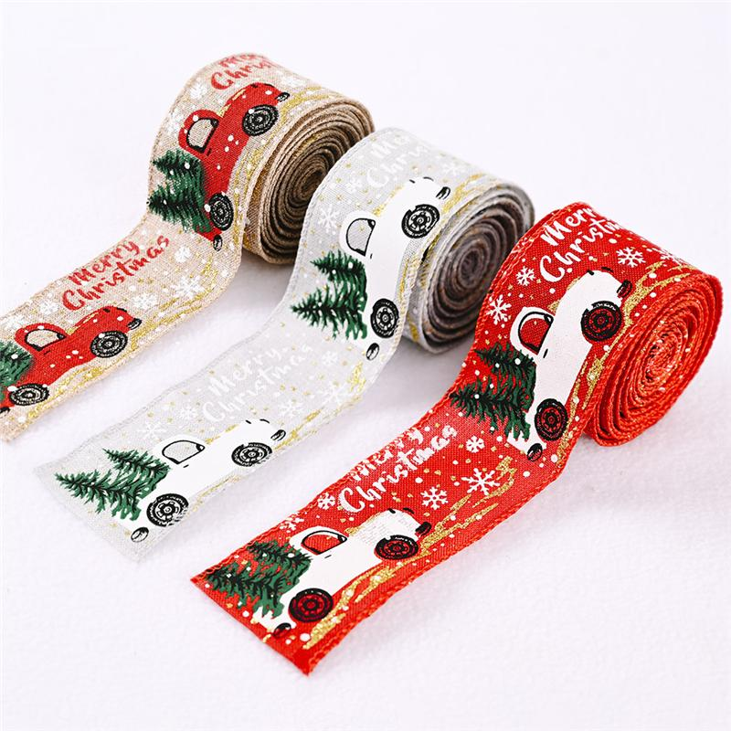 Árvore de Natal Feliz e Vintage Truck serapilheira fita do Natal Embrulhos DIY tecido do redemoinho da fita JK2010XB