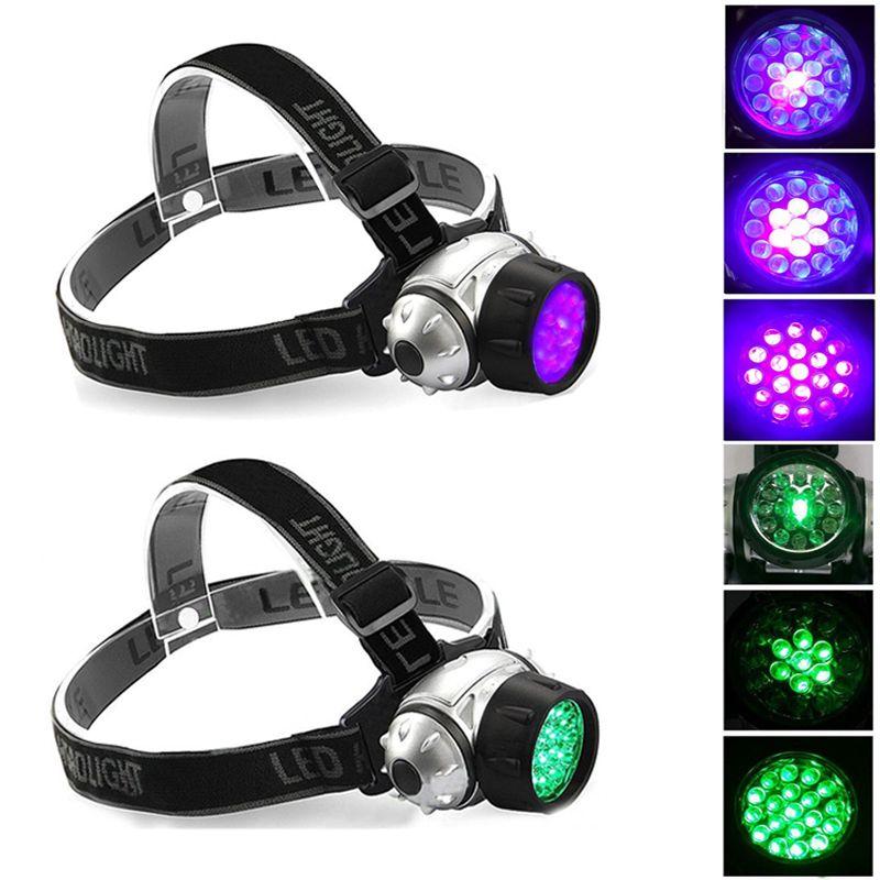 19 LED HeadLamp 4 modes de lumière ajustable lumière verte UV lumière pour l'hydroponique Horticulture Grows détecte Scorpions Scorpions Urine Tarifs d'urine Auto Huile
