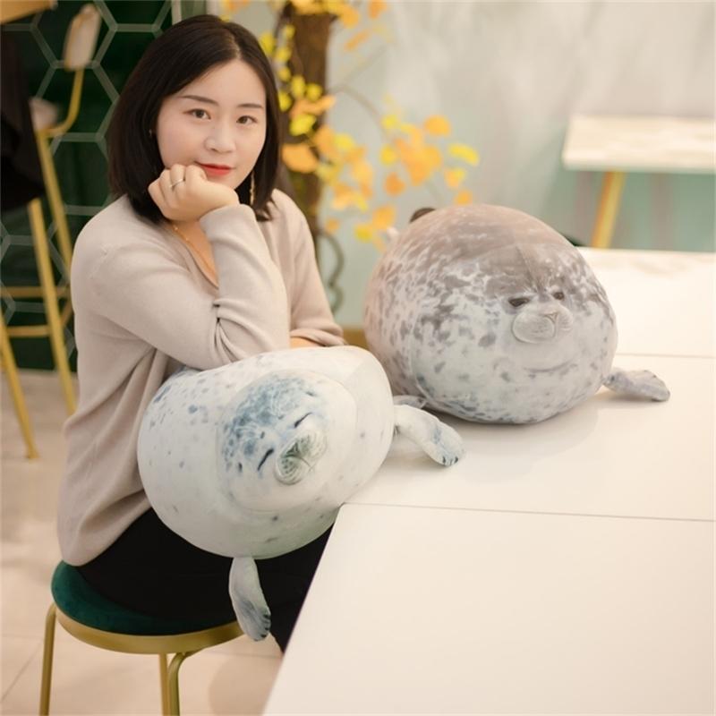 30 ~ 60cm Squishy Seal Weiche Plüsch Mollig Meer Hund Gefüllte Wassertier Tröstung Kinder Geburtstagsgeschenk Weiß Grau 30/40 / 60 cm 201214