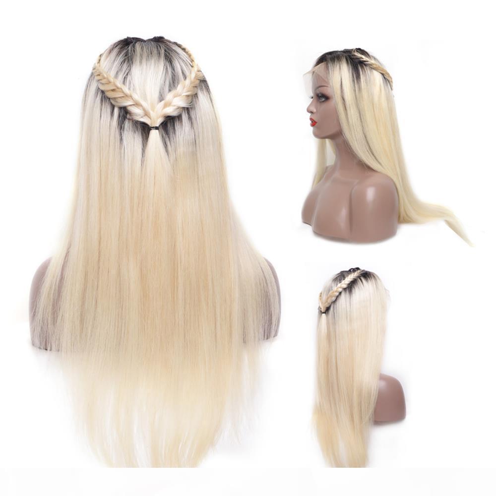 Vollspitze Menschenhaarperücken 150 Dichte Brasilianisches menschliches Haar Ombre Farbe T1b 613 # Gerade dicke Glueless Spitze Frontperücken mit Babyhaar