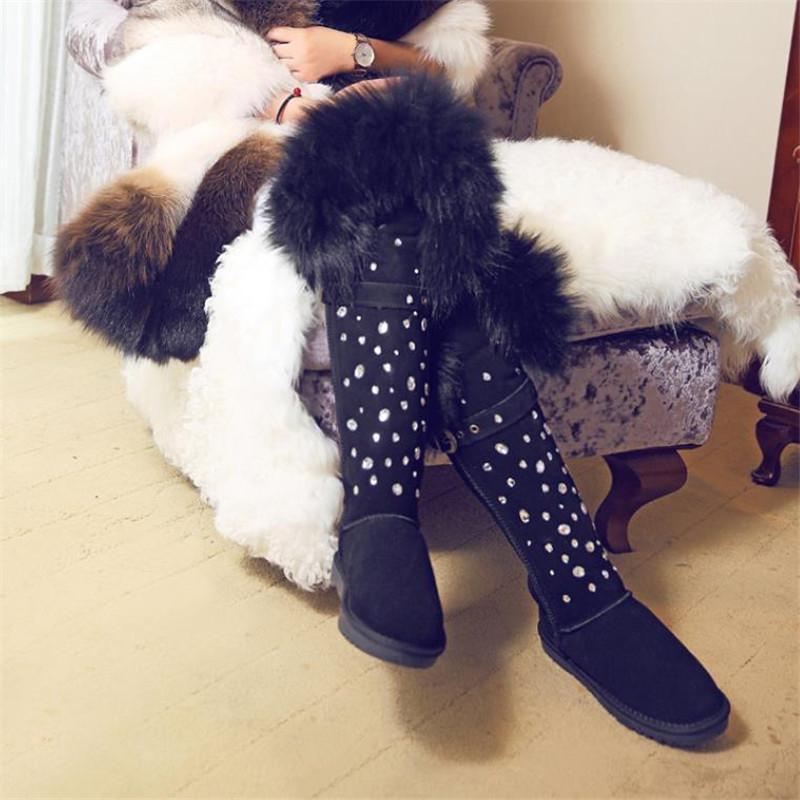 Kış Siyah Hakiki Deri inek derisi Over The Knee Boots Gerçek Kürk Rhinestone Kristal Kar Boots Kadınlar Sıcak Pamuk Ayakkabı