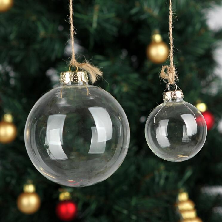 """Düğün Bauble Süsler Noel Noel Cam Topları Dekorasyon 80mm Noel Topları Temizle Cam Düğün Topları 3 """"/ 80mm Noel Süsler"""