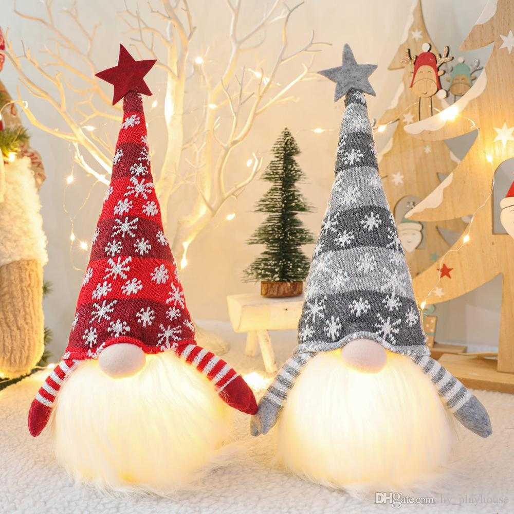 Новогоднее украшение с горящим Gnome Фаршированной Light Безликих Кукол украшение окно таблица украшение Рождественского подарок для вечеринок