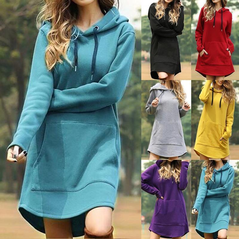 Mulheres com capuz que vestem o bolso encapuçado casual manga longa pulôver moletom do inverno harajuku hoodies morno moletom
