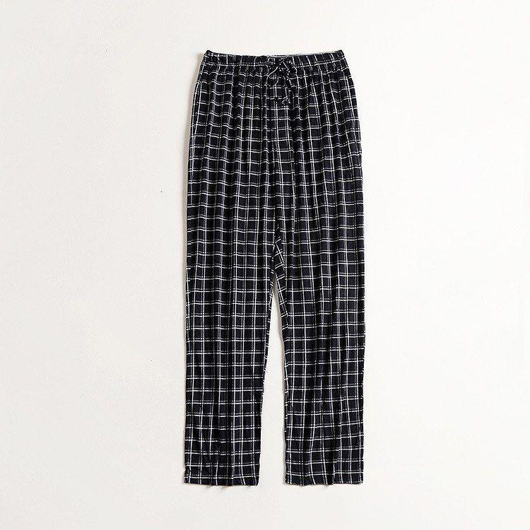 Yeni Adam Placket Lattice Ev Giymek Uzun Pantolon Pamuk Rahat Rahat Pijama Pijama Pantolon Adam