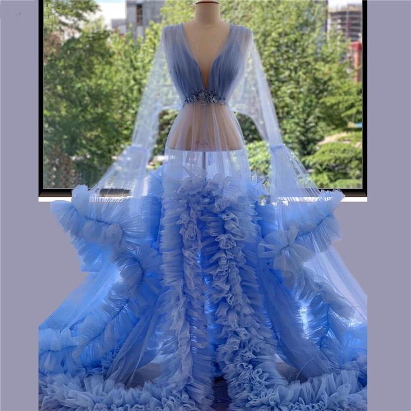 Blue Tulle Tiered Pregnant Evening Dresses 2021 Transparent Robe De Soiree Women Sleepwear Dubai Party Prom Dress Custom Made