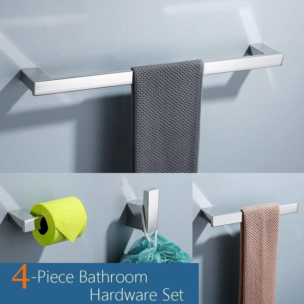 Ensemble d'accessoire de salle de bain 4 pièces Ensemble de papier toilette en acier inoxydable porte-serviettes bar robe crochet porte-serviette support mural, fini poli LJ201211