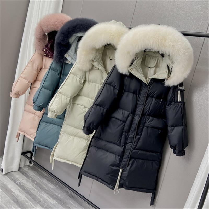 2020 New Thick Warm White Duck Jacket Women Winter Medium Long Hooded Real Fox Fur Collar Down Coat Female Casual