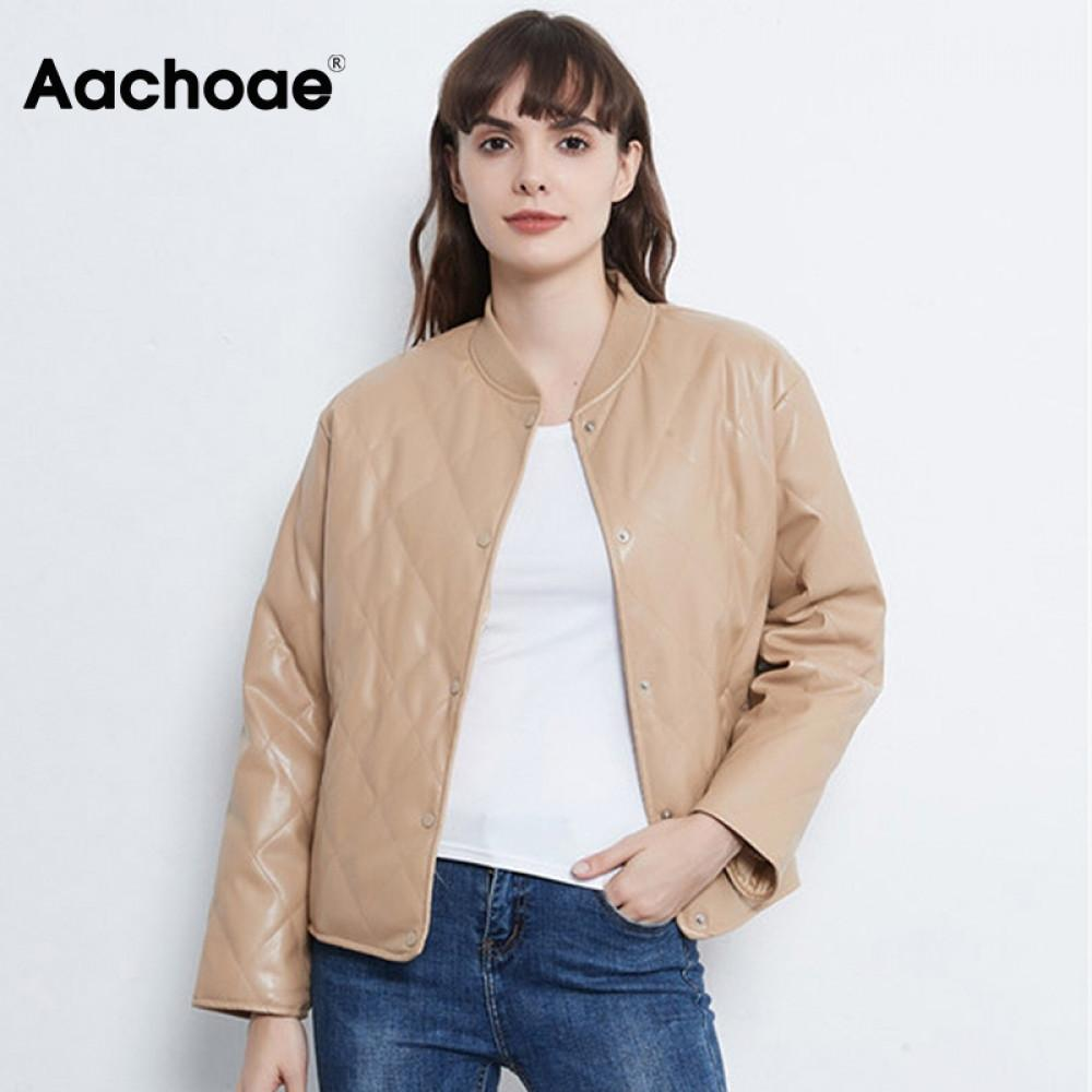 Aachoae Fashion Argyle Padded Jacket Women PU Faux Leather Long Sleeve Coat Female Loose Casual Ladies Winter Jackets 2020 Y1112