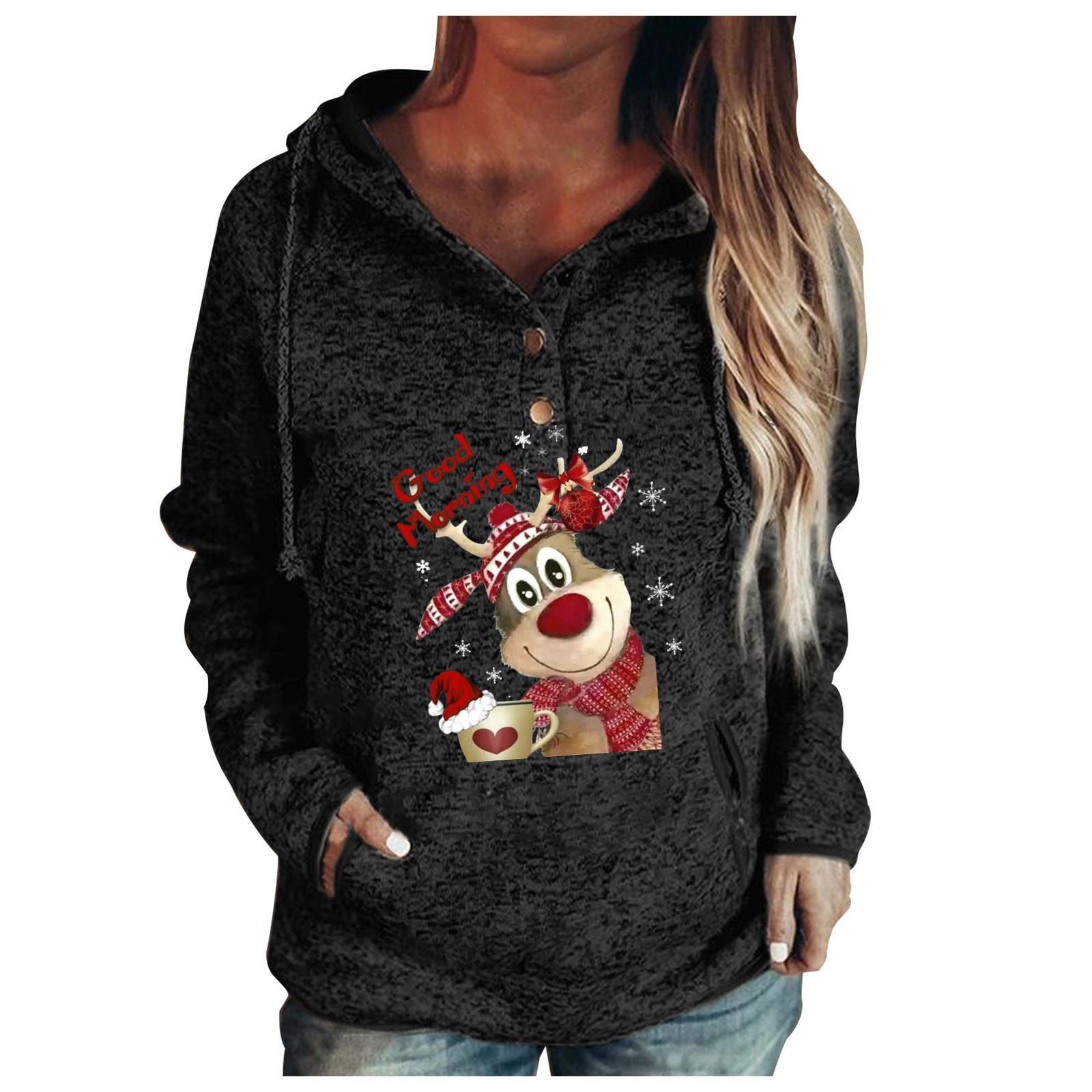 Felpa natalizia inverno autunno autunno felpa calda donna bottoni colletto Natale con cappuccio pullover tasche con coulisse Top Y1114